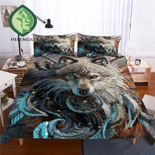 HELENGILI 3D Bedding Set Wolf Print Duvet Cover Set Lifelike Bedclothes with Pillowcase Bed Set Home Textiles #L-14
