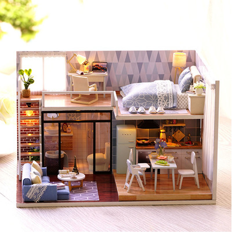 New Arriving DIY Miniature Model Doll house Blue Time With Furnitures LED 3D Wooden House Toys Handmade Best Gifts For Children