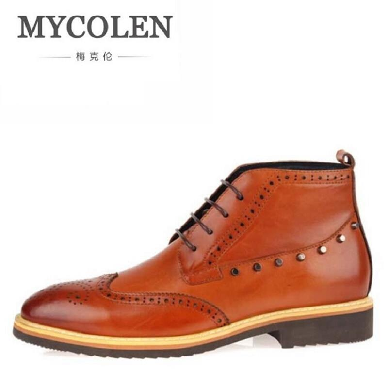 MYCOLEN Brand Top Quality Men Boots New Fashion Real Leather Rivet Ankle Boots Waterproof Men Winter Boots Botas Masculino