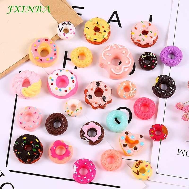 FXINBA 1/3/5/10pcs Donut Charms For Slime Filler DIY Ornament Phone Decoration Resin Charms Lizun Mud Clay Slime Supplies Toys