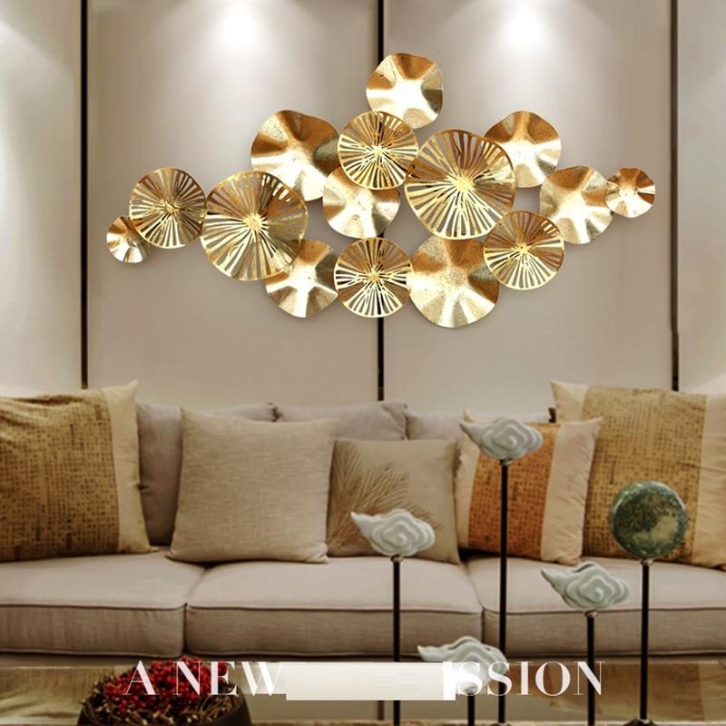 Luxury Modern Wrought Iron 3D Stereo Metal Lotus Leaf ...