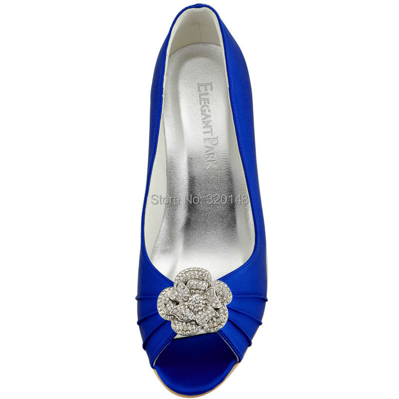 94673a70037a Woman Wedge High Heel Bridal Wedding Shoes Blue Peep Toe Buckle Satin Bride  Bridesmaid Evening Prom Pumps WP1547 Ivory Teal Navy-in Women s Pumps from  Shoes ...