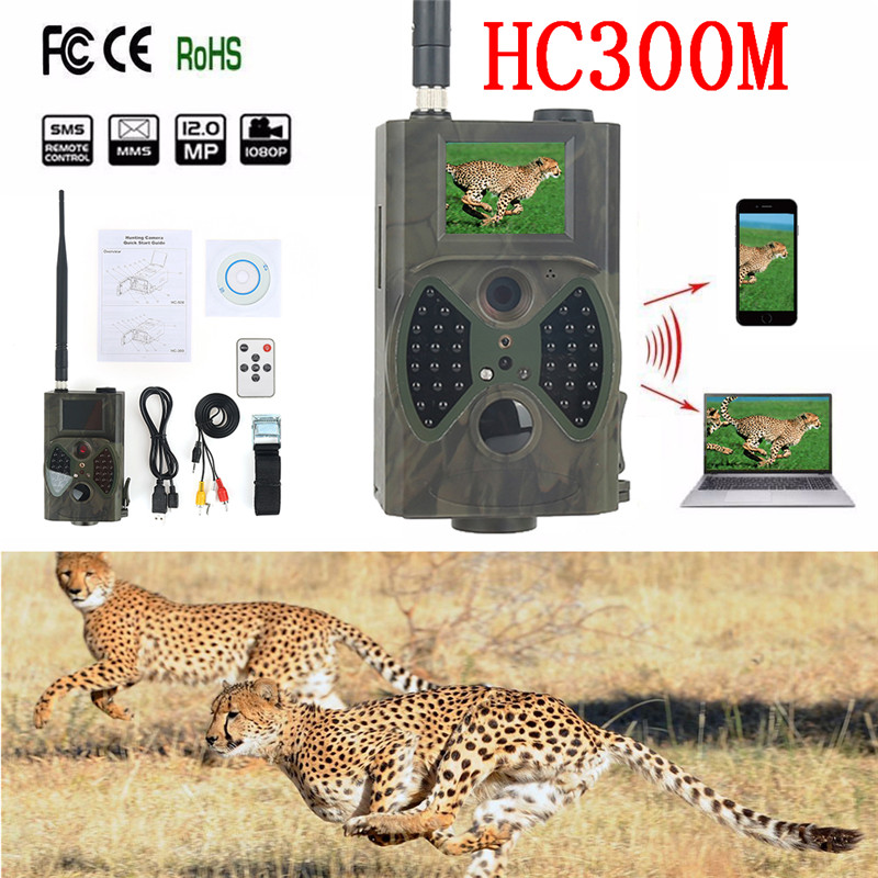 Skatolly HC300M Hunting Trail Camera 12MP GSM MMS GPRS Infrared Night Vision Hunting Cameras Chasse Scouting Photo Traps Cam HWC skatolly hc500m hd 12mp trail hunting camera gsm mms gprs sms control night vision scouting infrared wildlife hunting camera hwc