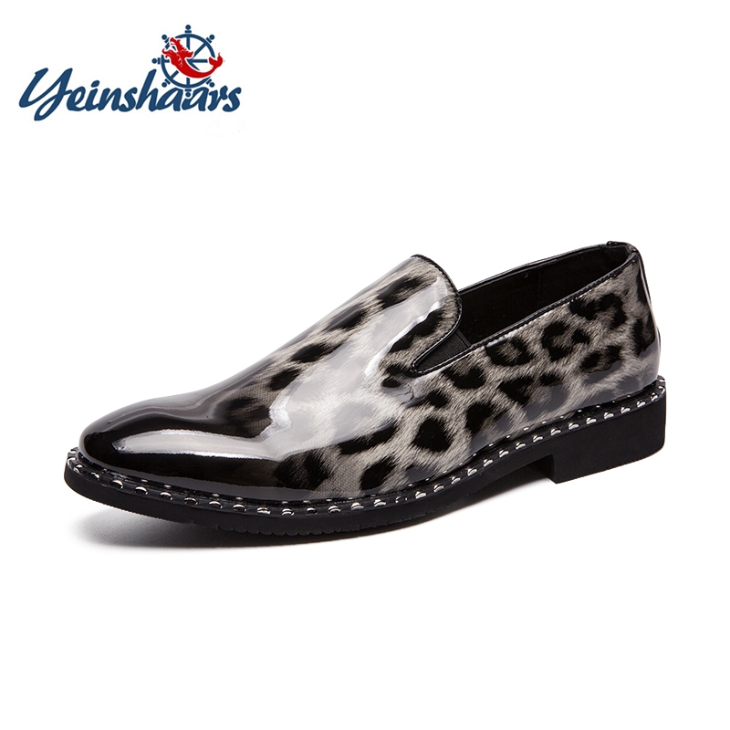 YEINSHAARS Leopard Patent Leather Slip On Men Loafers Casual Shoes Shinny Glossy Printing Red Bottom Men Flat Shoes Moccasins