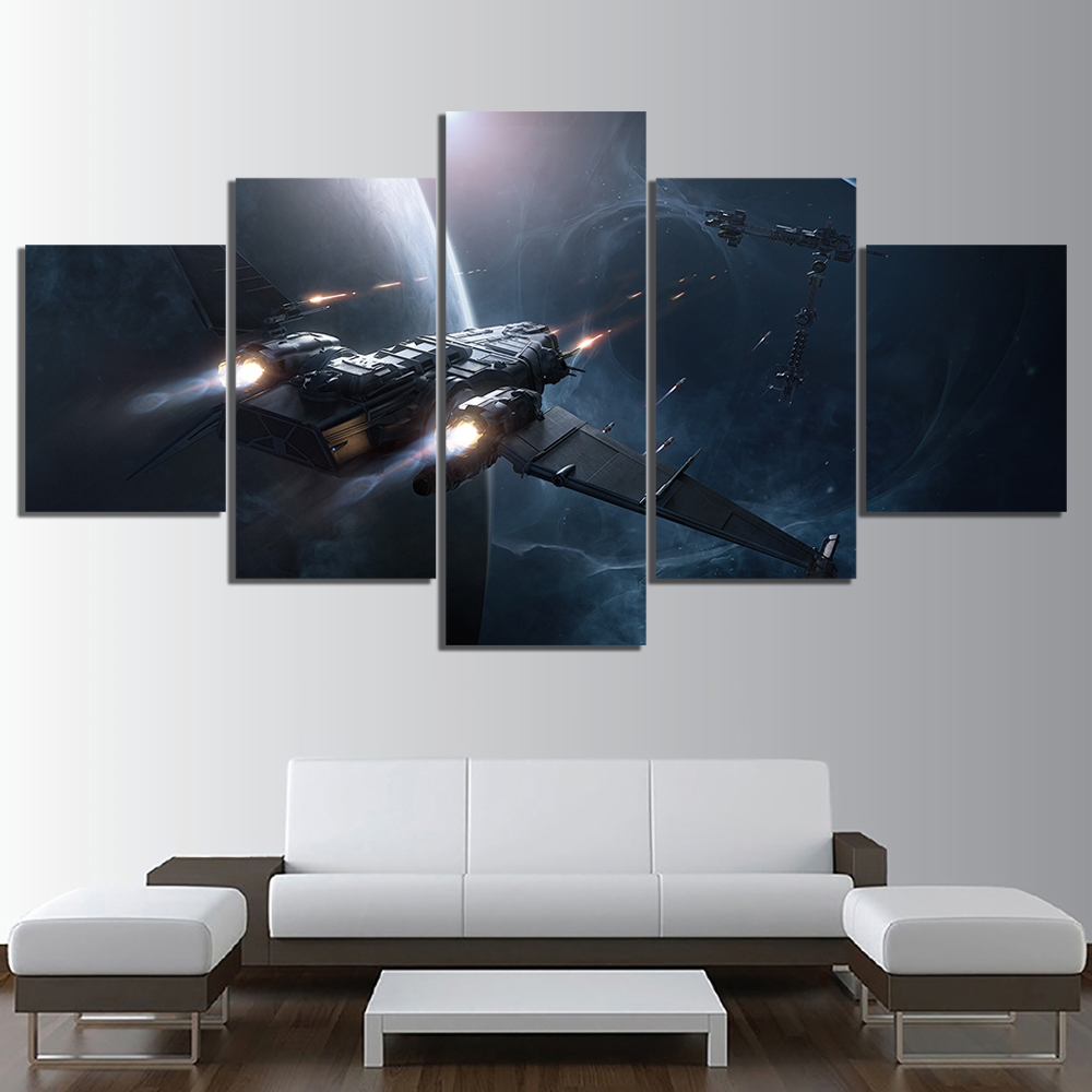 5 Piece HD Fantasy Art Pictures Space Ship Star Citizen Video Game Poster Wall Sticker Canvas Paintings for Home Decor Wall Art 3