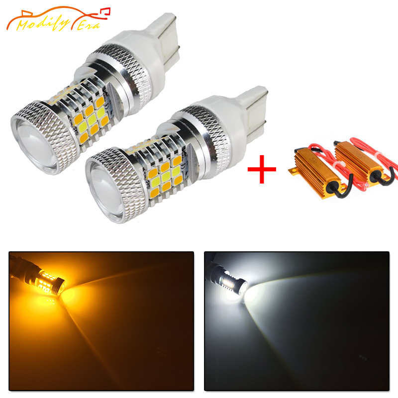 Modify.Era 2pcs 7443 7444NA T20 Car Canbus Error Free LED Bulbs For DRL Turn Signal Light Dual-Color Switchback 31-SMD Led Light