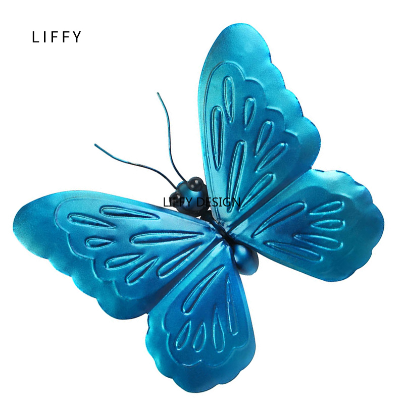 Image 2 - Liffy Miniature Metal  Butterfly Wall Decor Outdoor  for Garden Decoration Animals Jardin Ornaments Yard Decoraitions Statues-in Garden Statues & Sculptures from Home & Garden