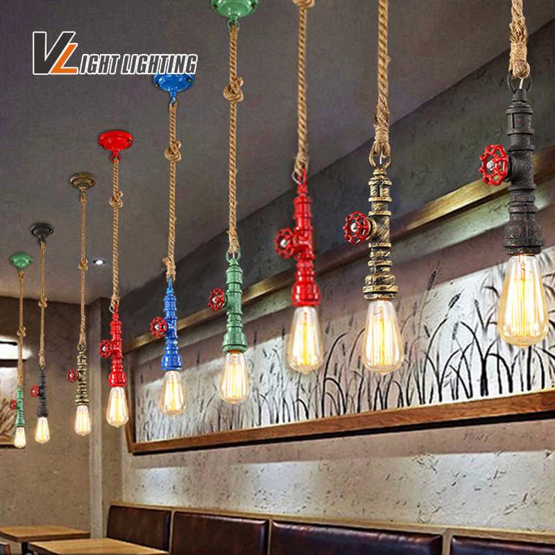 Лофт Винтаж водопровод веревка подвесной светильник для гостиной Ретро Эдисона лампы творческая личность американский стиль промышленный светильник