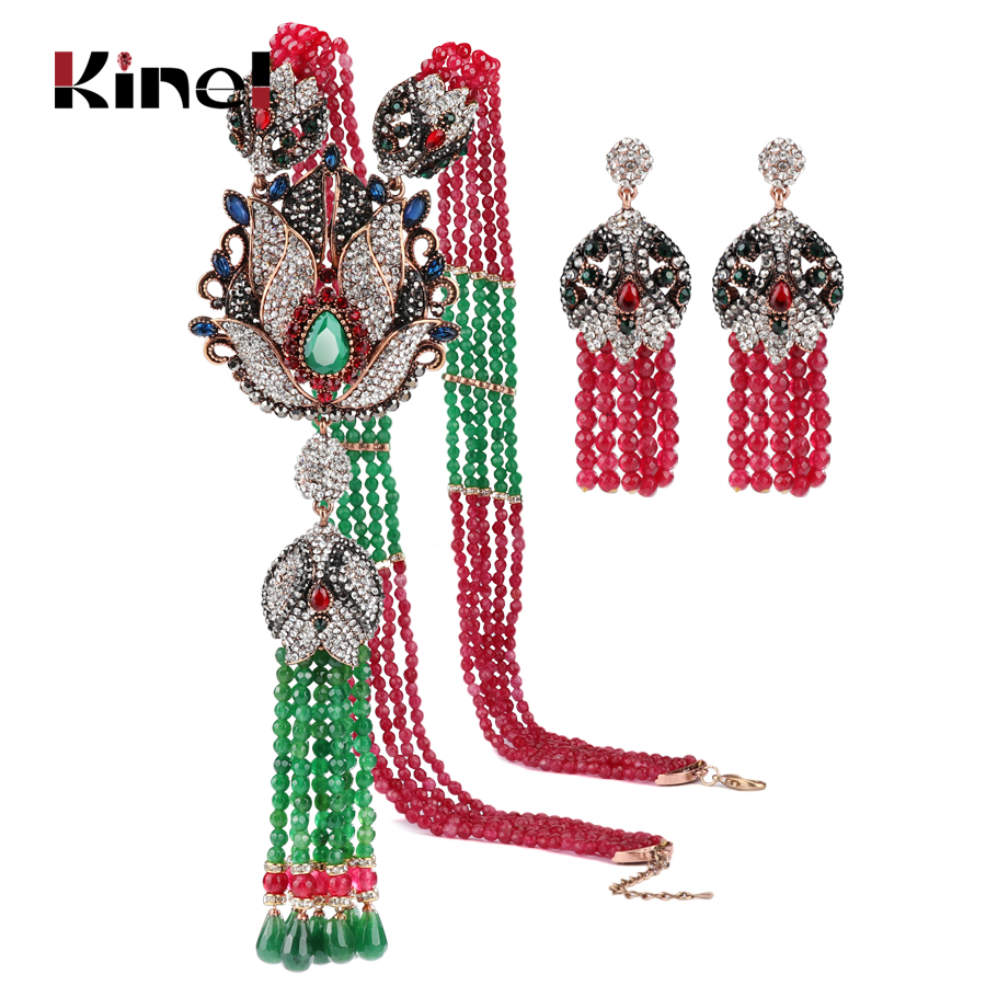 Kinel Natural Stone Tassel Necklace Crystal Flower Drop Earrings For Women Vintage Jewelry Set Antique Gold Luxury Party Gift