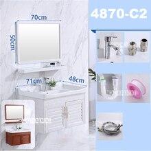 4870C-2 маленькое пространство алюминиевый простой керамический промывочный стол ванная комната шкаф с зеркалом Мини Настенный бассейн шкаф