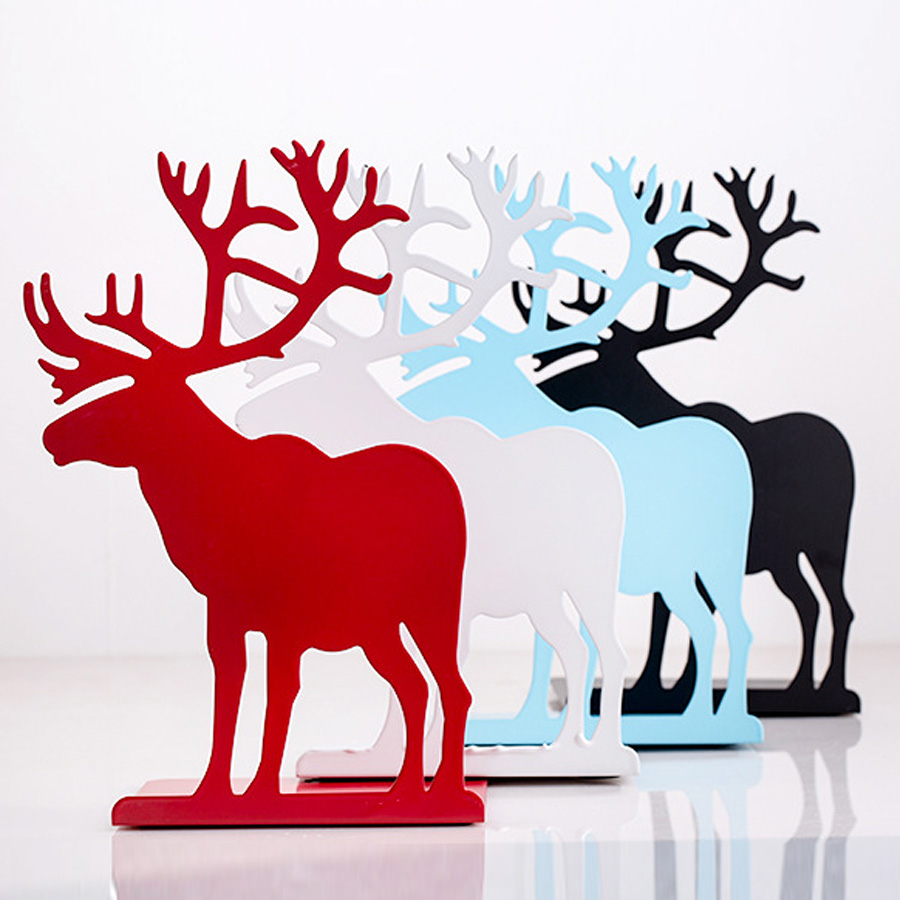 2pcs/set book holder for reading elk metal bookends restoring ancient ways Desktop receive arrange bookends for Christmas gifts deli korea creative book holder 2pcs set metal bookends decorative bookend cute animal book holder for reading support kid gifts
