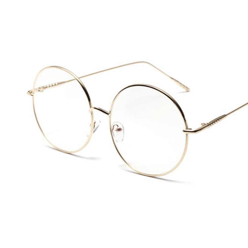 5bb7253702 ... Oversized Clear Round Glasses Silver Metal Frame Vintage Sexy Circle  Glasses Brand Designer Huge Big Nerd ...