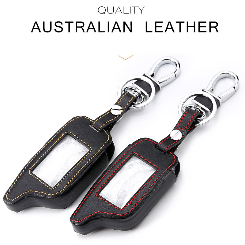 New A91 Leather Key Case For Starline B9 B91 B6 B61 A91 A61 V7 C9 LCD Way Car Remote 2 Way Alarm Starline A91