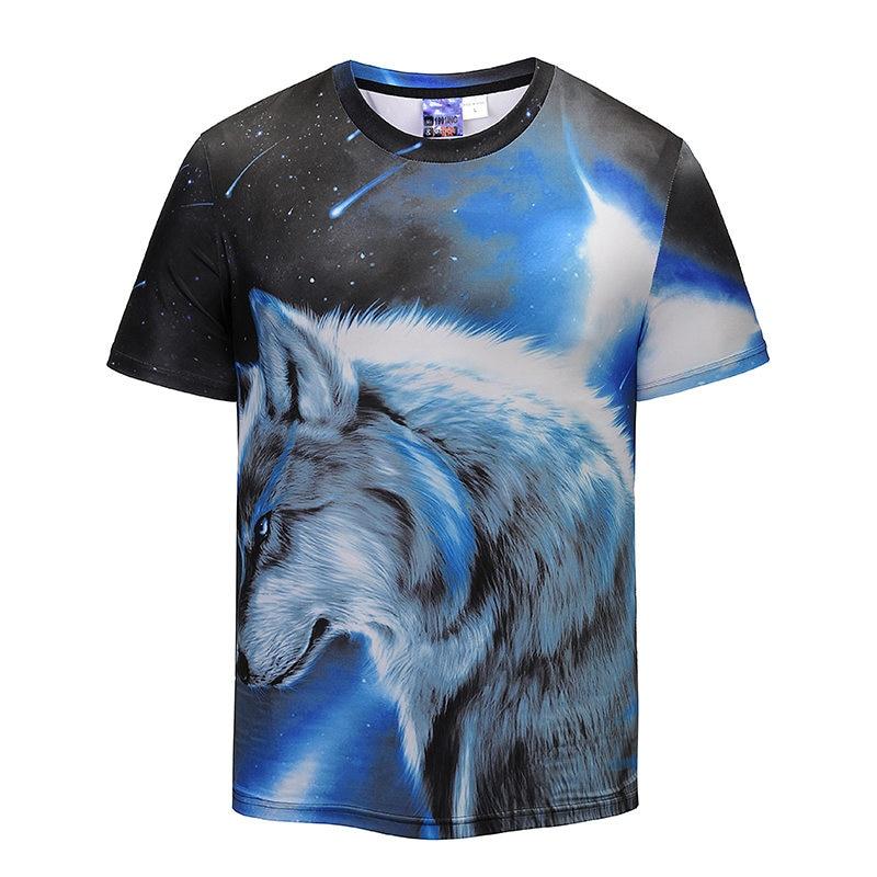 Mr.1991INC Fashion Men 3D T-shirt Starry Sky Wolf Tees Shirts Tide Brand European Code Mens Shitr Summer New Pattern Tops Tees