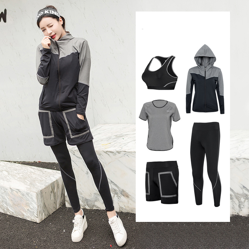 New Yoga Set Women Sports Bra+Pants+Shirt+Short+Jacket 5 Pcs Breathable Fitness Running Exercise Tracksuits Plus up Gym Clothing xc hot yoga set women fitness running exercise sport bra pants coat 3 colors breathable push up sports suit
