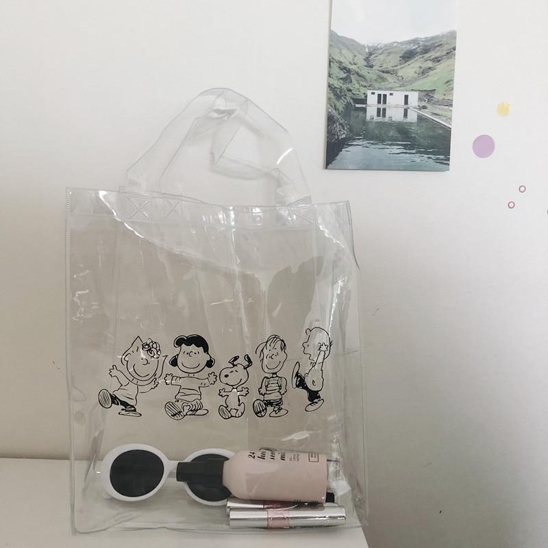 Cheng Pin Ins Rogue Dog Monochrome Snoppys  Pattern Popular Fashion Beach  Bags Pencil Bag Waterproof Totes Handbag Document Bag