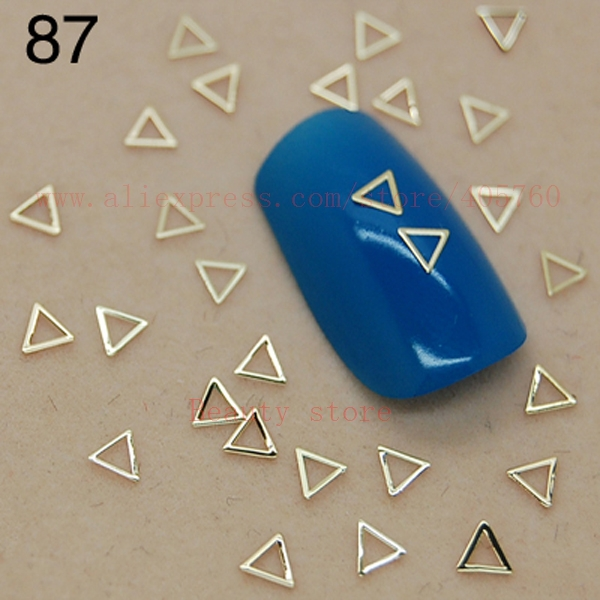 Купить с кэшбэком 800pcs/bag Gold Solid Diamond Hollow Circle Triangle Music Note Sequins Nail Art Rhinestones Decorations Tips 84-87#