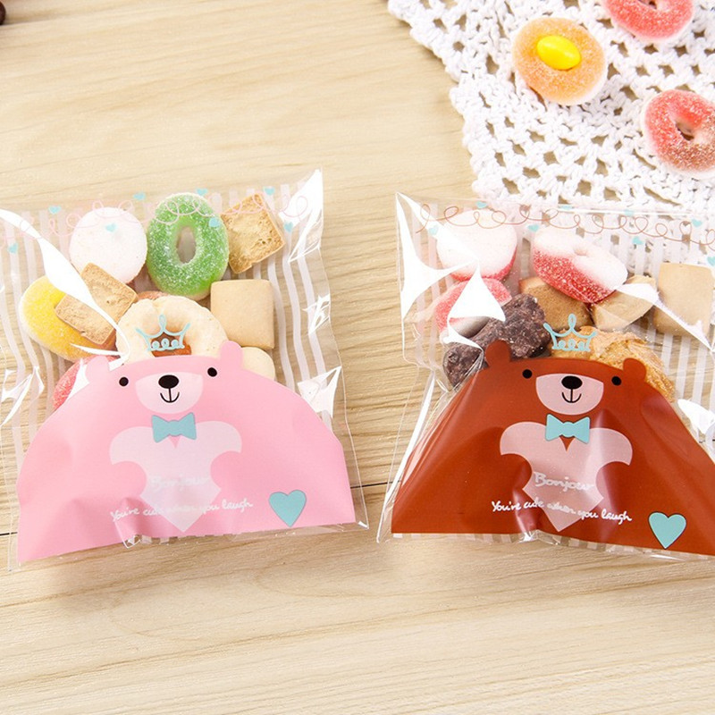 Clever Food Packaging Bags Cookie Mini Bear Print Self-adhesive Plastic Candy Cake Cookies Bags Gifts Bags Stationery Holder 100pcs A Great Variety Of Goods Desk Accessories & Organizer Office & School Supplies