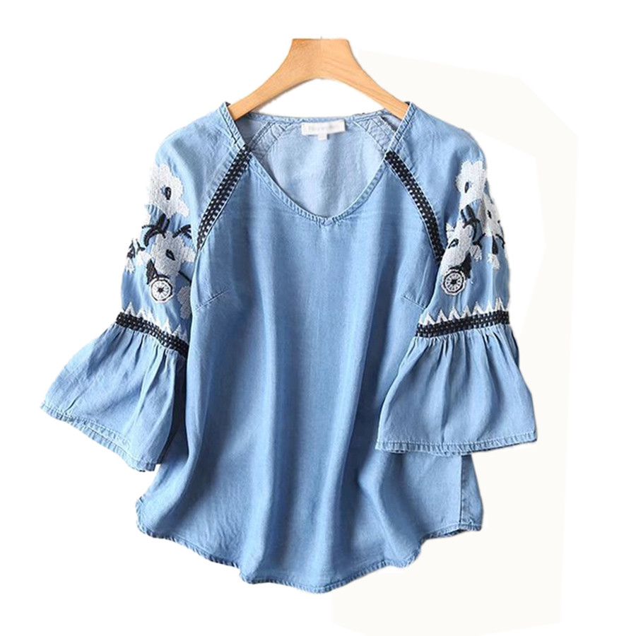 2018 Summer Tops Women Casual Loose Shirt Women Embroidery Blouse Plus Size Ladies Office Shirts Camisa Jeans Feminina Blusas