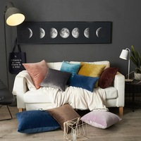 45x45cm Velvet Dutch velvet pure color modern simple sofa car pillow back pillow cushion with core throw blue pillows home decor