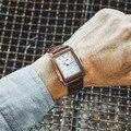 Classic retro rectangular reloj de los hombres relojes de pulsera de cuarzo de cuero de moda 2016 Populares Hombre de negocios reloj relogio masculino