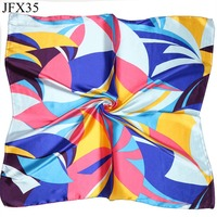 Hot Sale Women Small Silk Scarf Printed Fashion Colorful Pattern Square 40% Silk Scarves Europe America Style Scarf 60*60cm