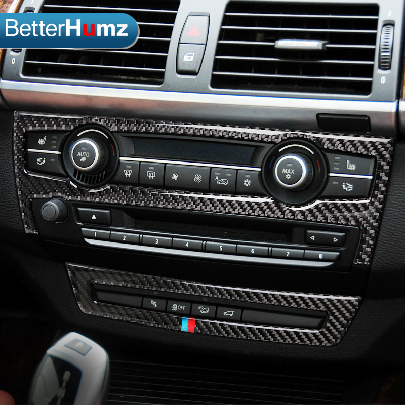 BETTERHUMZ Carbon Fiber Refit Car Interior AC CD Control Decor Frame Decoration Sticker for BMW e70 e71 X5 X6 2008 2013 -in Car Stickers from Automobiles & Motorcycles