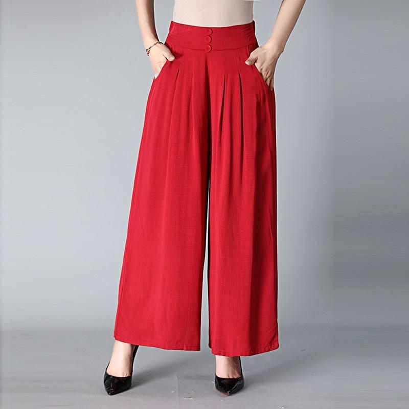 Women New Summer   Wide     Leg     Pants   Casual Loose High Elastic Waist Harem   Pants   Loose Chiffon Elastic Soft Long Trousers XXL-4XL