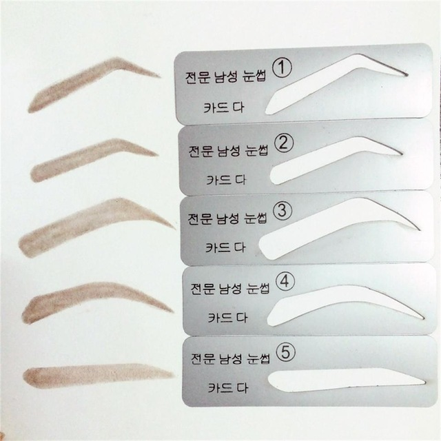 5Pcs/Pack Fashion 5 Types Men Eyebrow Stencils Brow Card Template Makeup Tool Grooming Kit