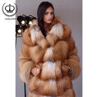 110 см длинное модное пальто из натурального меха, Женская куртка из натурального меха Красного лисы с воротником, зимние женские теплые шубы