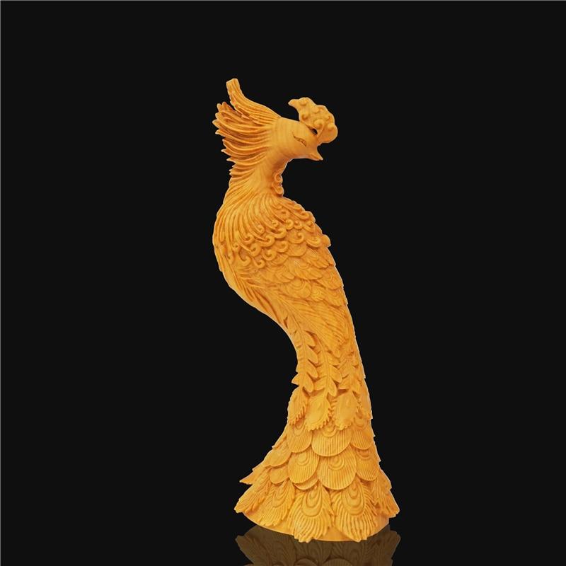 Art chinois exquis buis sculpture décoration de la maison sculpture animal paon décoration accessoires fait main en bois cadeau.