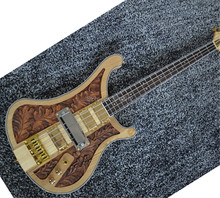 Custom Top quality Wood carving Ricken 4003 fireglo bass guitar 4 strings electric bass guitar