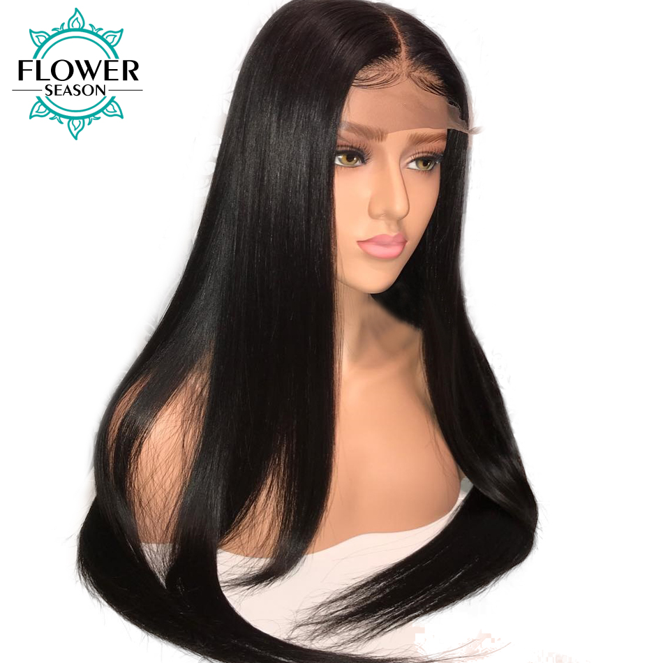 Image 5 - Pre plucked 13x6 Silky Straight Lace Front Human Hair Wigs With Baby Hair Bleached Knots Peruvian Remy Hair FlowerSeasonwig with baby hairwig withewig wig -