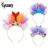 Mermaid Birthday Party Supplies Starfish Princess Headband Rainbow Flower Headwear Beach Theme Hair Accessories
