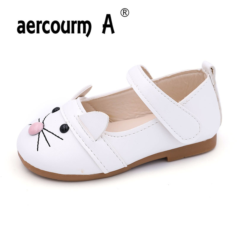 Aercourm A Size 21-30 Spring Autumn Girls Princess shoes 2017 New PU Leather Girls Shoes Cartoon Girls Solid Kids Leather Shoes