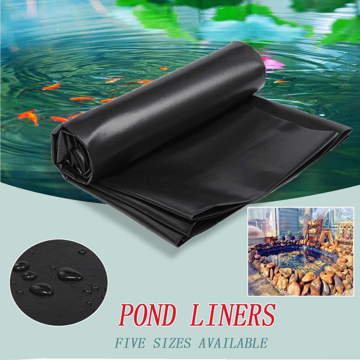 5Sizes PE Fish Pond Liner Garden Pools Reinforced HDPE Heavy