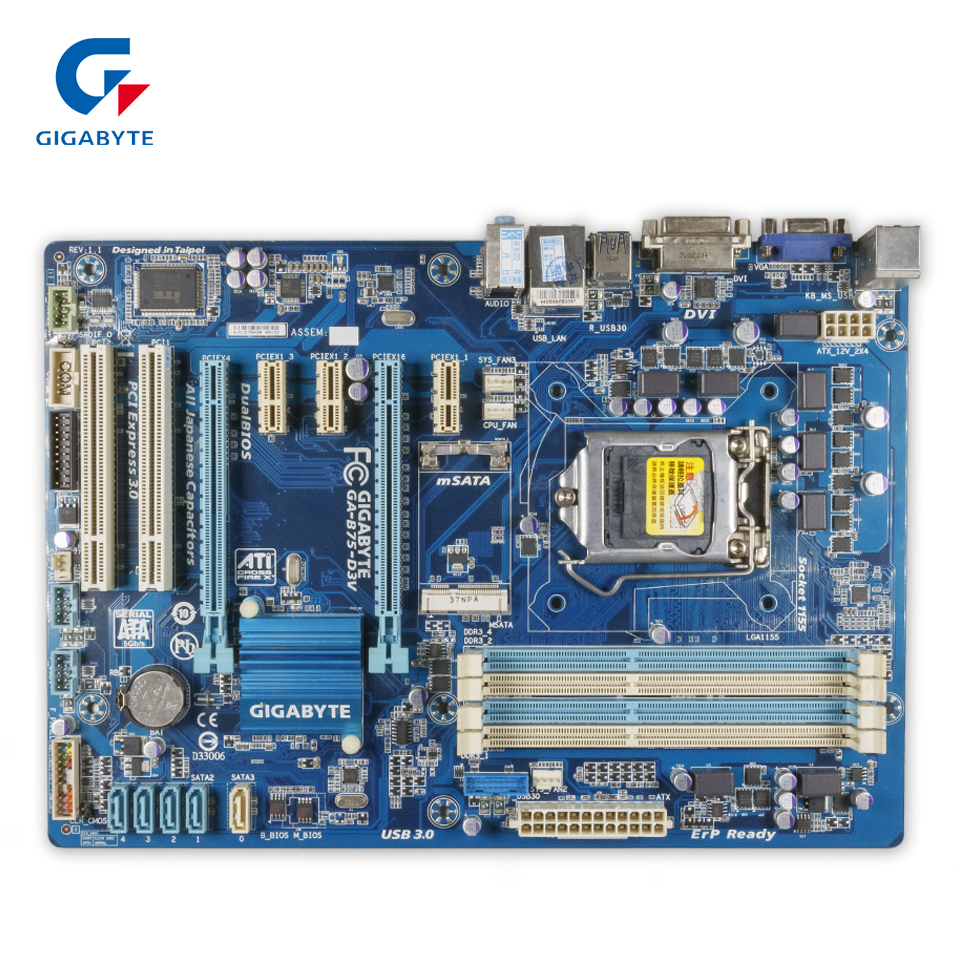 Gigabyte GA-B75-D3V Original Used Desktop Motherboard B75-D3V B75 Socket LGA 1155 i3 i5 i7 DDR3 ATX On Sale asus p8b75 m desktop motherboard b75 socket lga 1155 i3 i5 i7 ddr3 sata3 usb3 0 uatx on sale