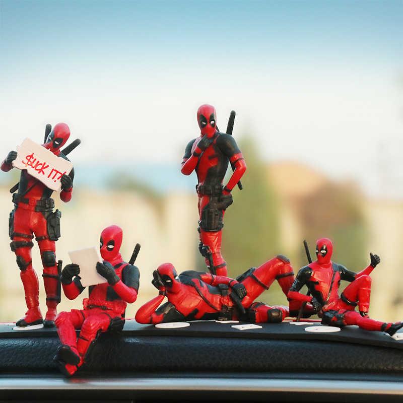Marvel X-Men Personalidade Ornamento Estatuetas de Deadpool Action Figure Modelo Sentado Anime Mini Boneca Decoração Do Carro Acessórios Do Carro