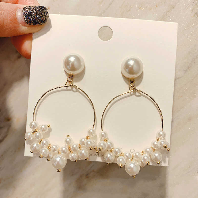 2019 New Fashion Jewelry Temperament Wild Oorbellen Simulation Pearl Ring Earrings Brincos Pendientes Earrings For Women