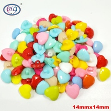 HL 14MM 50/100PCS Mix Color Shank Heart Plastic Buttons DIY Crafts Children's Clothing Garment Sewing Accessories