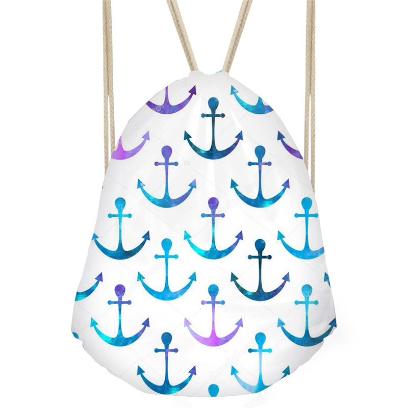 THINK Boat Anchor Cartoon Patterns Backbag Classic Fashion Girl Drawstring Bag Travel Softback Man Women Teenagers Backpack Sac