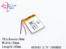 3.7V,1000mAH,[603443]  Polymer lithium ion / Li-ion battery for GPS,mp4,cell phone,speaker,DVR RECORDER;603443