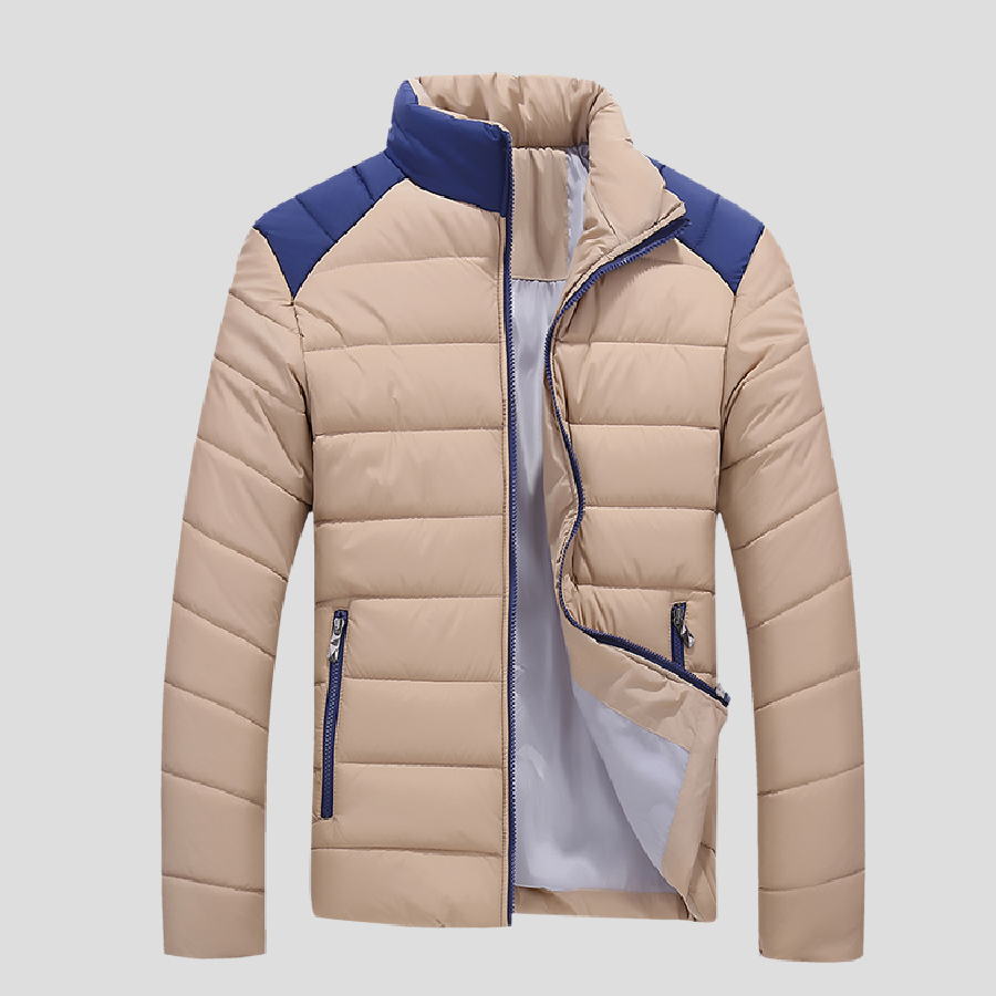 Yeni Stil Kış Sıcak Erkekler Parkas Tam Kol Erkekler Patchwork ceket Ince Standı Yaka Rahat Giysiler Ceket Sıcak Satış Tops Parkas