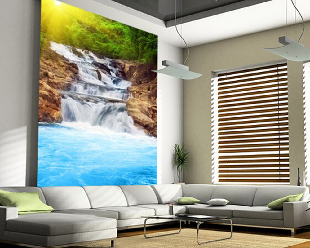 Custom landscape wallpaper, Beautiful Waterfall 3D wallpaper for living room bedroom kitchen wall waterproof PVC papel de parede custom retro wallpaper brick wall 3d wallpaper mural for the living room bedroom kitchen backdrop wall waterproof pvc wallpaper