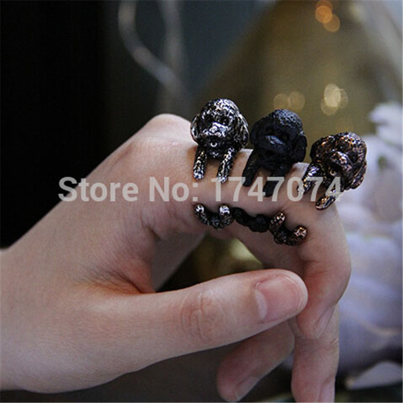 Wholesale Women Poodle Dog Ring Adjustable Open Animal Ring Antique Bronze/ Antique Silver /Black Plated gift idea 12pcs/lot