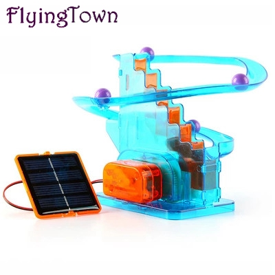 Ball Moving! Creative Solar Toys Diy Children Assembled Scientific Experiments Favorite Track Ball Solar Toys Kids Free Shipping