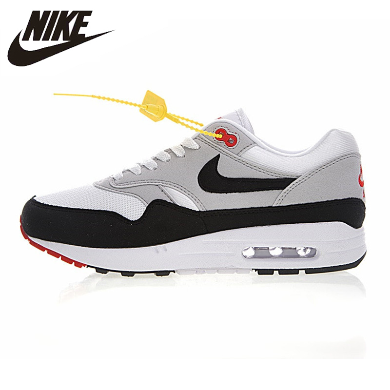 Nike Air Max 1 Anniversary Men Running Shoes, White, Shock Absorption  Non-Slip Abrasion Resistant Breathable 908375 104