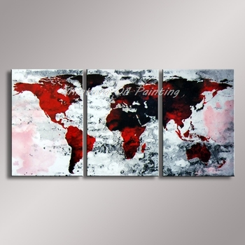 Mintura Art World Map Picture 3Pcs 100% Hand Painted Modern Wall Art Paintings Abstract  Oil Painting Wall Decor For Living Room
