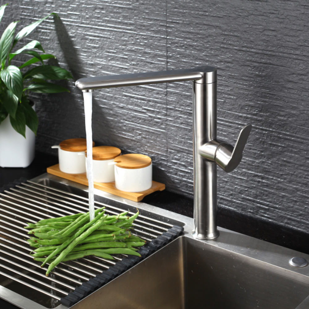 SUS 304 stainless steel Wall Mounted Kitchen Faucet Brushed NickleSpool Mixer Water Tap Hot And Cold Double Control Faucets цена