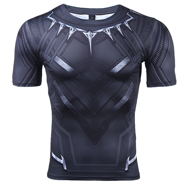 Black panther short sleeve compression t shirt comicstoy for Compressed promotional t shirts